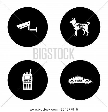 Police Glyph Icons Set. Surveillance Camera, Military Dog, Walkie Talkie, Car. Vector White Silhouet