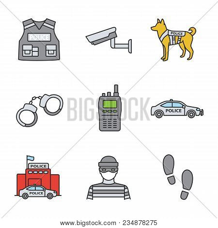 Police Color Icons Set. Bulletproof Vest, Surveillance Camera, Military Dog, Handcuffs, Walkie Talki