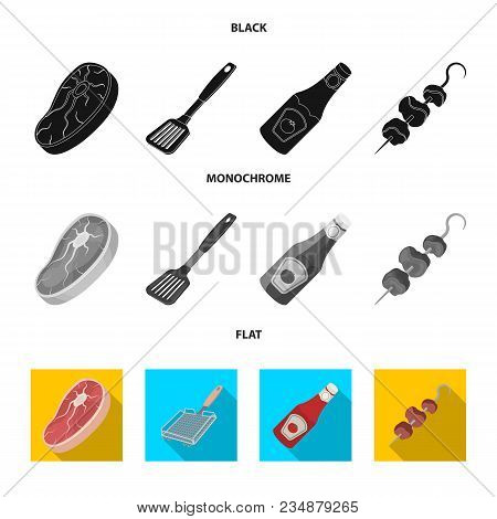 Raw Meat Steak, Grill With Handle, Bottle Of Ketchup, Shish Kebab.bbq Set Collection Icons In Black,
