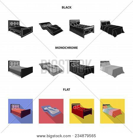 Different Beds Black, Flat, Monochrome Icons In Set Collection For Design. Furniture For Sleeping Ve