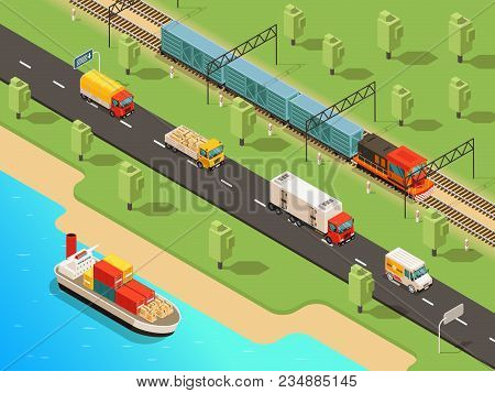 Isometric Logistic Transportation Concept With Ship Trucks Van And Freight Train Transporting Differ
