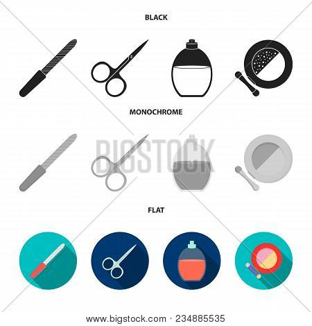 Nail File, Scissors For Nails, Perfume, Powder With A Brush.makeup Set Collection Icons In Black, Fl