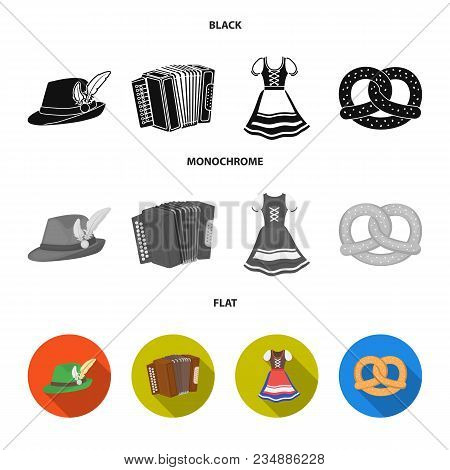 Tyrolean Hat, Accordion, Dress, Pretzel. Oktoberfestset Collection Icons In Black, Flat, Monochrome