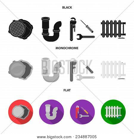 Sewage Hatch, Tool, Radiator.plumbing Set Collection Icons In Black, Flat, Monochrome Style Vector S