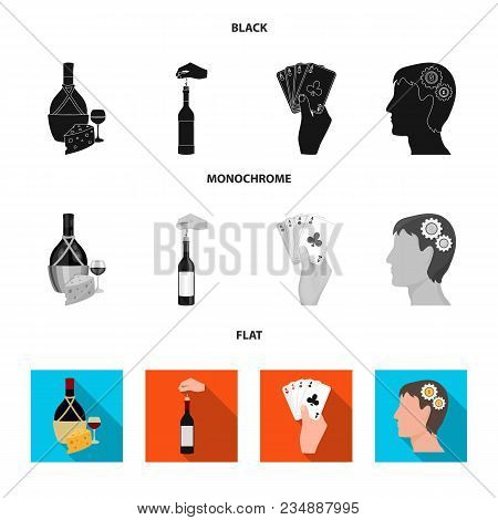 Bottle, A Glass Of Wine And Cheese, Clogging With A Corkscrew And Other Icon In Black, Flat, Monochr