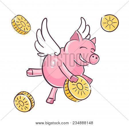 A Sketch Of The Character Of The Pig. The Symbol Of 2019 According To The Eastern Calendar. Dudling-