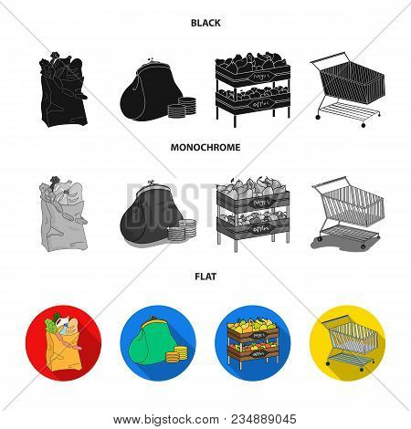 Sausages, Fruit, Cart .supermarket Set Collection Icons In Black, Flat, Monochrome Style Vector Symb