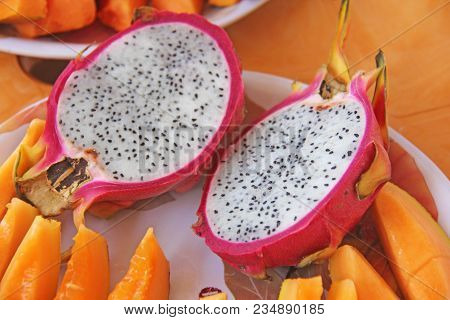 The Exotic Fruit Of The Dragon's Eyes. Pink Dragon Eye And White Flesh