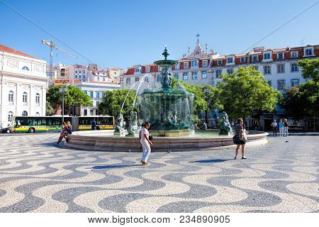 Lisbon, Portugal - September 10. 2017 .  Fountain At The Rossio Square In Lisbon. Lisbon Is The Capi