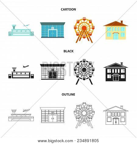 Airport, Bank, Residential Building, Ferris Wheel.building Set Collection Icons In Cartoon, Black, O