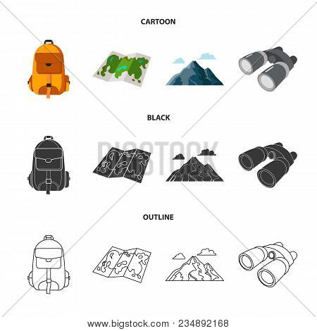 Backpack, Mountains, Map Of The Area, Binoculars. Camping Set Collection Icons In Cartoon, Black, Ou