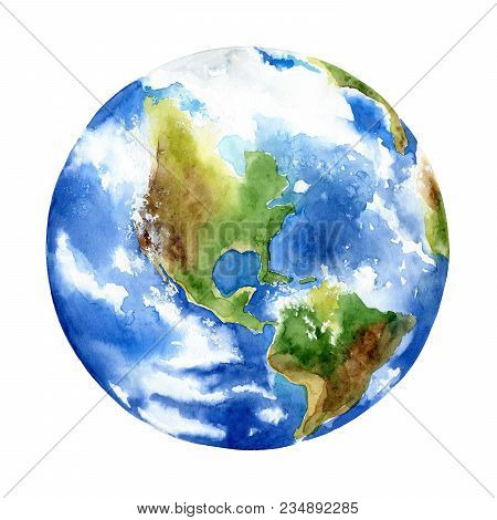 Planet Earth On White Background. Watercolor Illustration