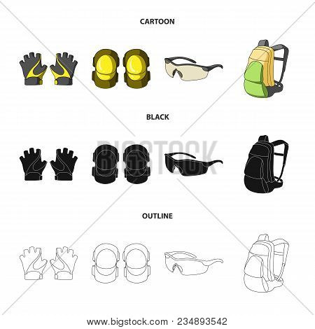 Gloves, Elbow Pads, Goggles, Cyclist Backpack.cyclist Outfit Set Collection Icons In Cartoon, Black,