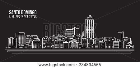 Cityscape Building Line Art Vector Illustration Design - Santo Domingo City