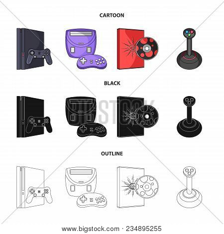 Game Console, Joystick And Disc Cartoon, Black, Outline Icons In Set Collection For Design.game Gadg