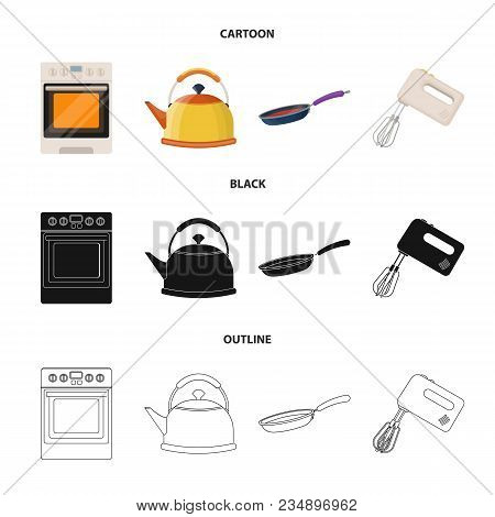 Kitchen Equipment Cartoon, Black, Outline Icons In Set Collection For Design. Kitchen And Accessorie