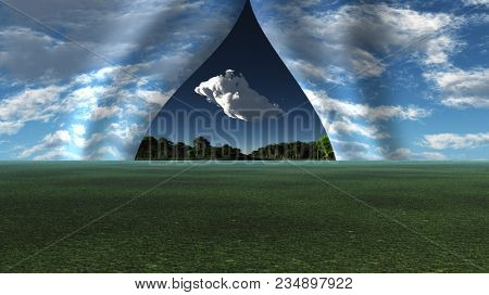 Sky pulled apart like curtain to reveal other landscape. 3D rendering