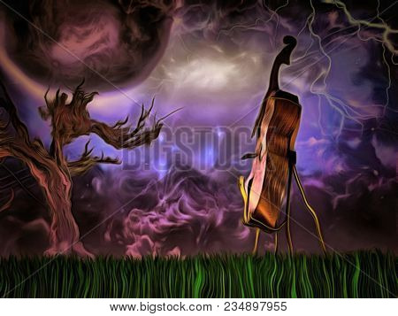 Surreal painting. Cello. Old tree, big moon in purple sky. 3D rendering