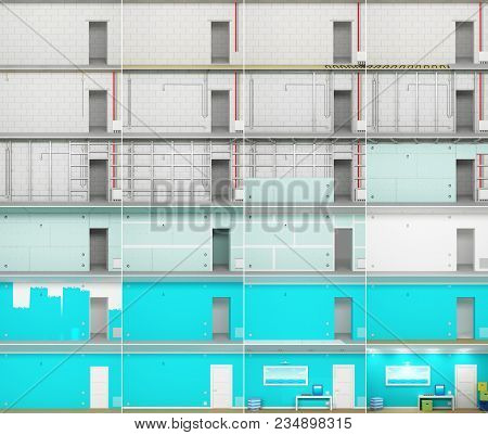 3d Illustration. The Process Of Building A Room In The Slides. The Different Stages Of The Construct
