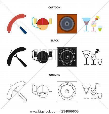 Fried Sausage, Beer Helmet, Cocktails, Speaker.pub Set Collection Icons In Cartoon, Black, Outline S
