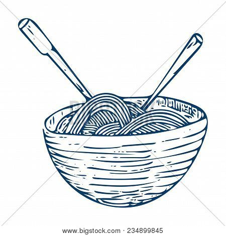 Doodle Sketchy Illustration: Hand Drawn Chinese Style Noodle Bowl With Sticks Isolated. Doodle Noodl