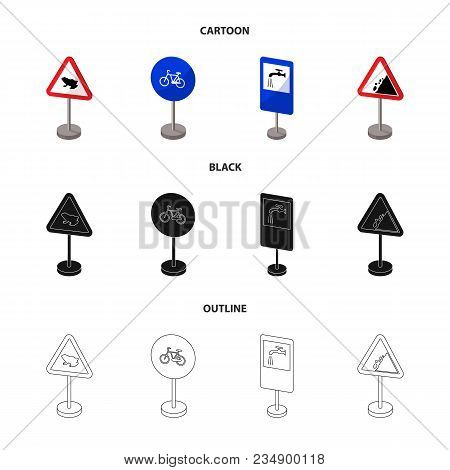 Different Types Of Road Signs Cartoon, Black, Outline Icons In Set Collection For Design. Warning An