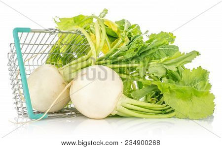 White Radish Bulbs With Fresh Leaves Out A Shopping Basket Isolated On White Background