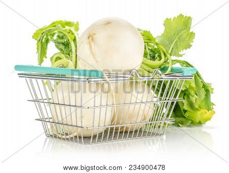 White Radish With Fresh Leaves In A Shopping Basket Isolated On White Background Three Bulbs