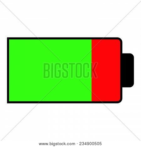 Battery Condition Charge Part Empty Vector Illustration Icon Black Color Vector Illustration Isolate