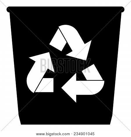 Trash Basket Icon  With Utilization Arrows Icon Black Color Vector Illustration Isolated