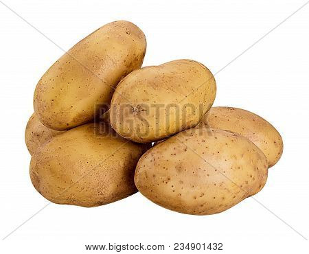 Heap Of Young Potatoes Isolated On White Background. Clipping Path