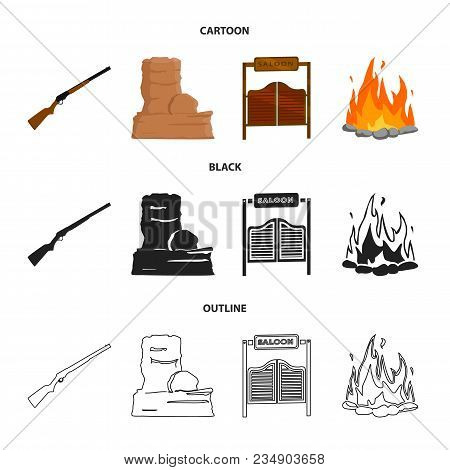 Winchester, Saloon, Rock, Fire.wild West Set Collection Icons In Cartoon, Black, Outline Style Vecto