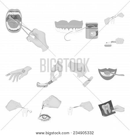 Manipulation By Hands Monochrome Icons In Set Collection For Design. Hand Movement In Medicine Vecto