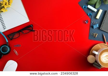 Flat Lay, Top View Office Table Desk. Workspace With Blank Note Book, Keyboard, Macaroon, Office Sup