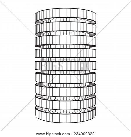 Futuristic Server Hard Disk And Database Or Battery Cell. Wireframe Mesh Model, Vector Illustration.