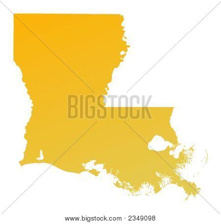 Orange Gradient Louisiana Map, Usa