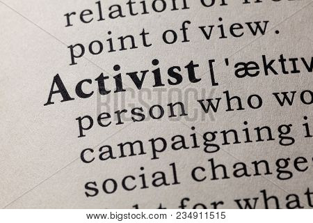 Fake Dictionary, Dictionary Definition Of The Word Activist. Including Key Descriptive Words.