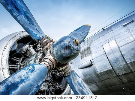 Propeller Of An Historic Aircraft Against A Blue Sky
