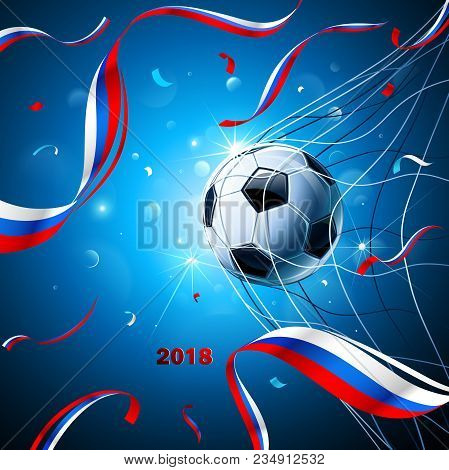 Soccer Ball With Flag Of Russia And Confetti On A Blue Background. Vector Illustration