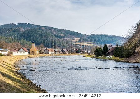 View Of Small Village Near The River, With Typical Architecture And Small Church. Forest And Trees I