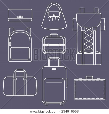 Different Types Of Bags, White Outline Flat Vector Luggage Illustration Collection On Dark Backgroun