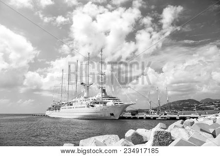 Philipsburg, St Maarten - February 13, 2016: Ship Or Sailing Yacht In St Maarten At Pier On Sea Or O