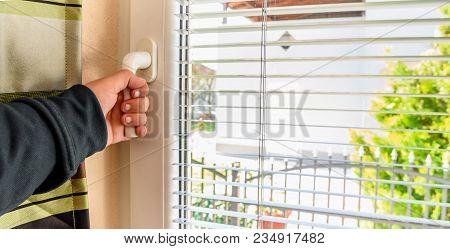 Man Hand Open Pvc Window With Jalousie