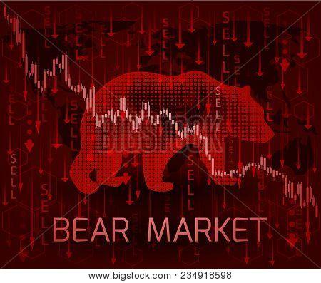 Silhouette Bear And The Inscription Bear Market.financial Metaphor.
