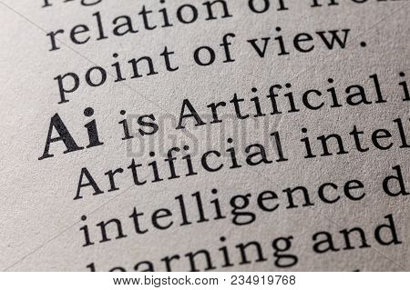 Fake Dictionary, Dictionary Definition Of The Word Ai, Artificial Intelligence. Including Key Descri