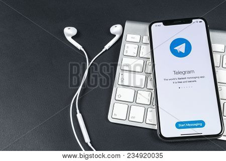 Sankt-petersburg, Russia, April 6, 2018: Telegram Application Icon On Apple Iphone X Screen Close-up