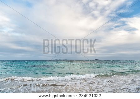 Seascape And Sky With Clouds, White Cloudscape. Sea Waves On Cloudy Sky In Philipsburg, Sint Maarten
