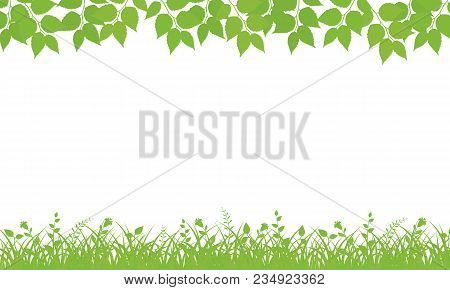 Nature Background With Leaves And Grass. Vector Illustration.