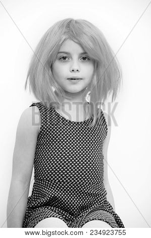 Holiday Celebration Concept. Girl In Pink Hair Wig Isolated On White. Beauty And Hairdressing Salon.