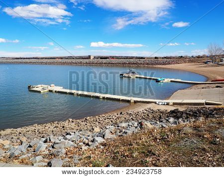 Two Boat Docks At The Boulder Reservoir In Boulder Colorado